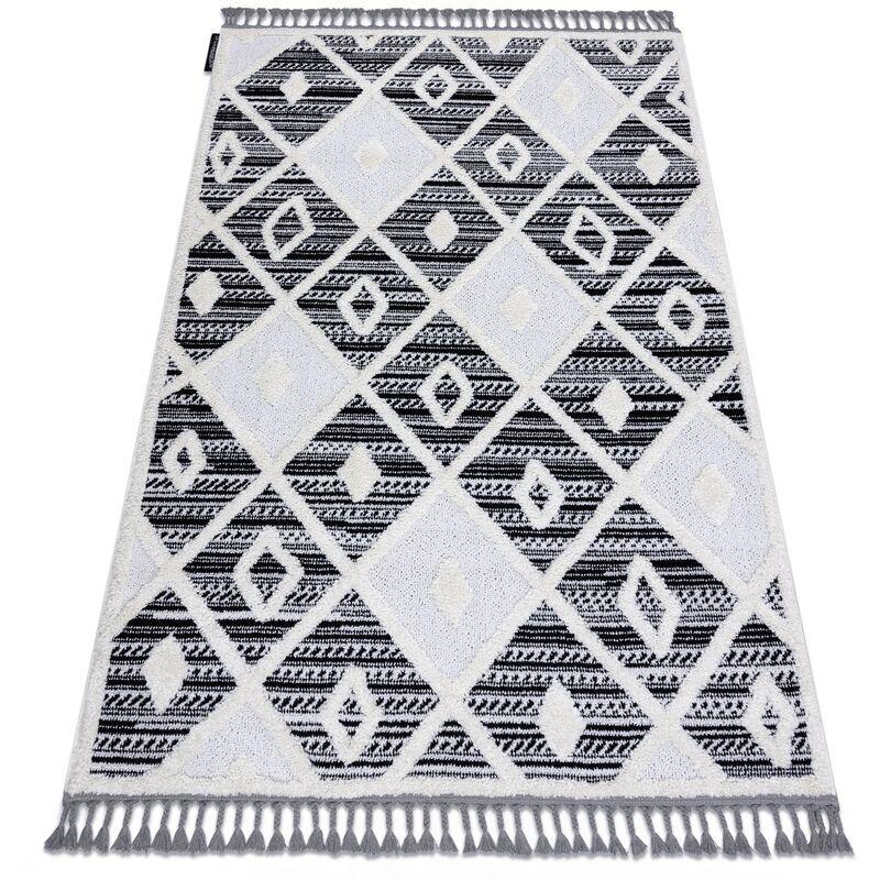 RUGSX Tapis MAROC P662 Diamants noir / blanc Franges berbère marocain shaggy nuances de gris et argent 140x190 cm