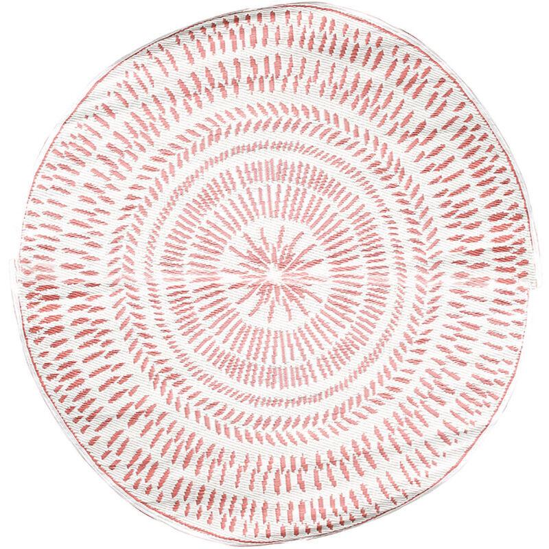 THE HOME DECO FACTORY Tapis rond extérieur 150 cm marron réversible - Rose