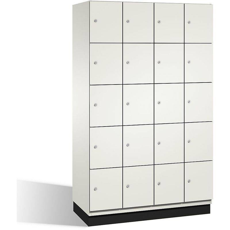 CERTEO CP Armoire à casiers CAMBIO avec portes en HPL - 20 casiers - corps blanc pur/porte blanche, largeur 1200 mm - Coloris corps: blanc pur RAL 9010