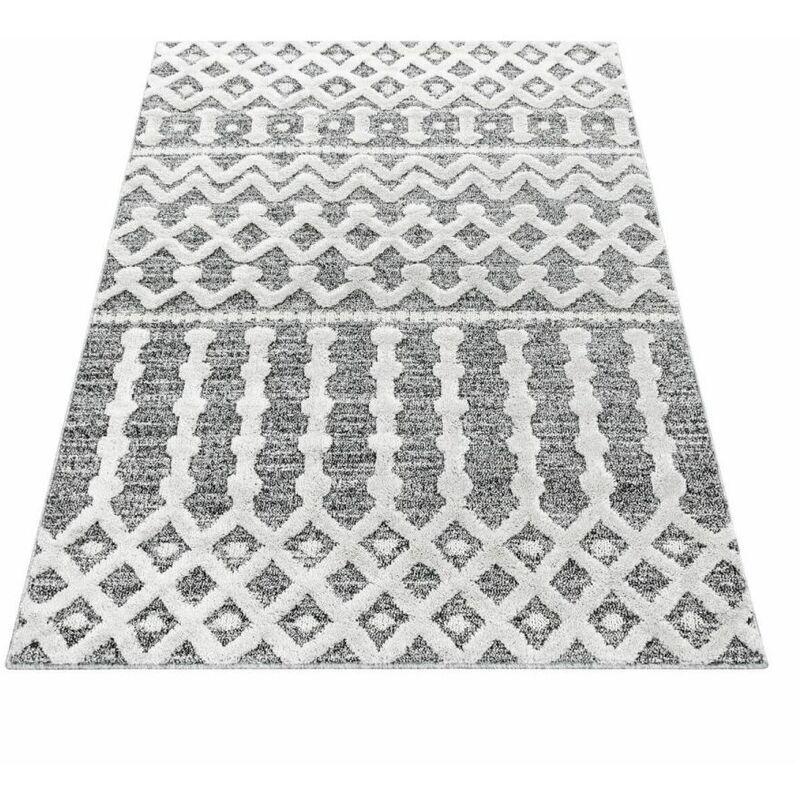BOBOCHIC Tapis poils courts MAROC motif berbère 240x340 Gris - Gris