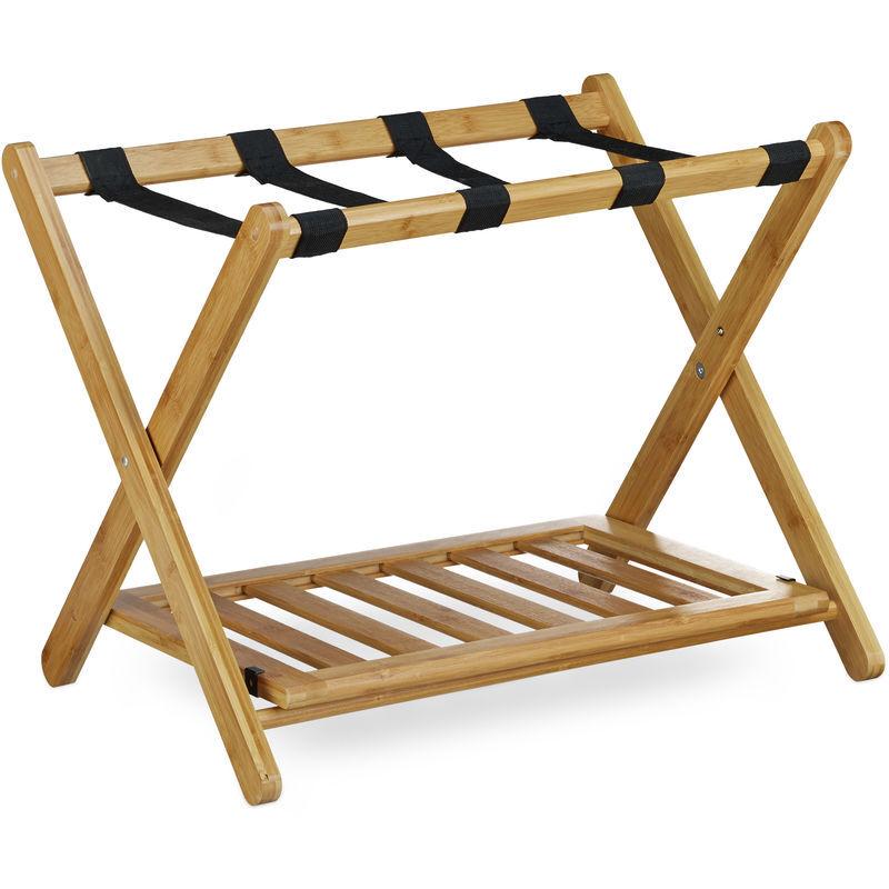 RELAXDAYS Porte-bagage pose valise pratique HxlxP: 53 x 68 x 53 cm support de bagage en bois de bambou avec 4 sangles sac de voyage vacances espace de