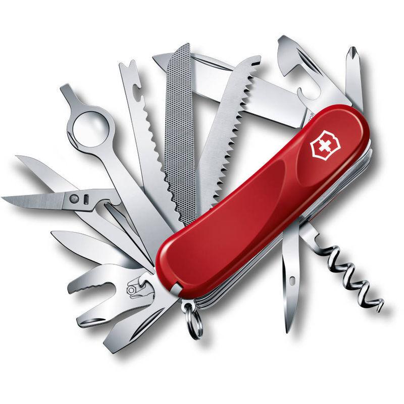 Victorinox Couteau d'officier suisse Victorinox Evolution 28 avec 23 fonctions rouge contenant une loupe 2.5383.E