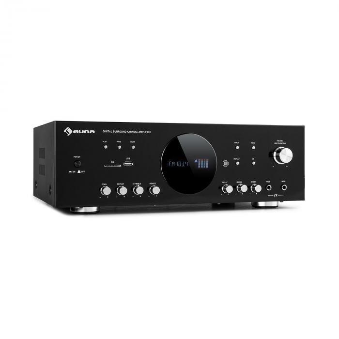 Auna AMP-218 BT Ampli surround numérique 5.1 Bluetooth USB SD 390W - Noir