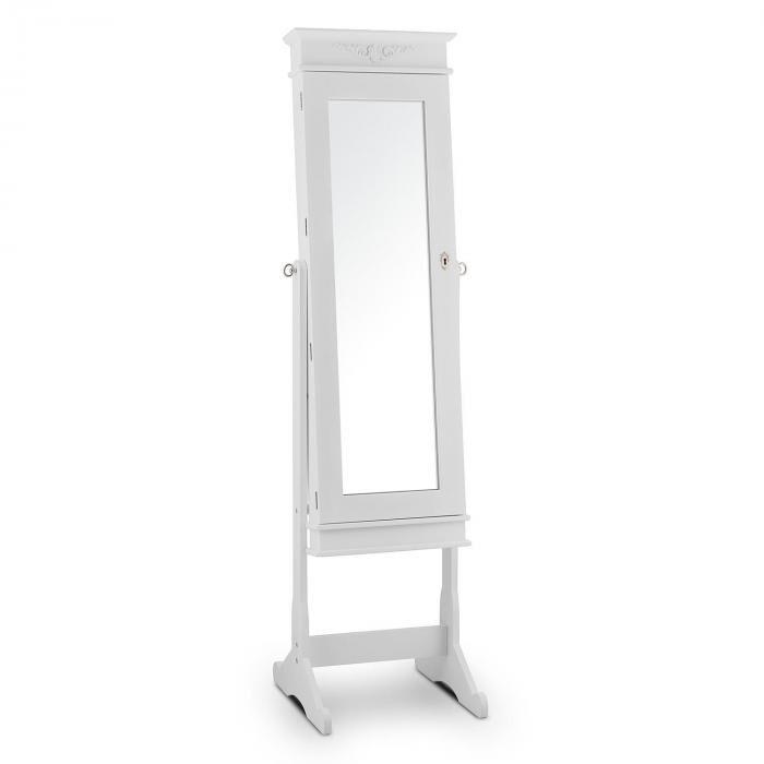 Oneconcept Patricia Armoire à bijoux inclinable rangement miroir LED -blanc