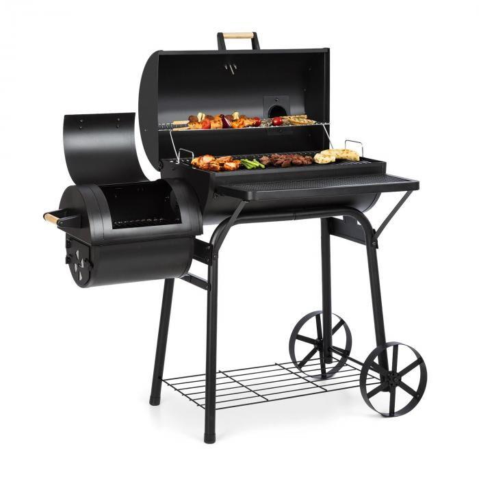 Klarstein Beef Brisket Barbecue fumoir thermomètre roues couvercle - Noir