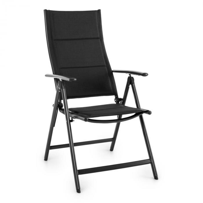 Blumfeldt Stylo Royal Black Chaise de jardin Chaise pliante Aluminium noir