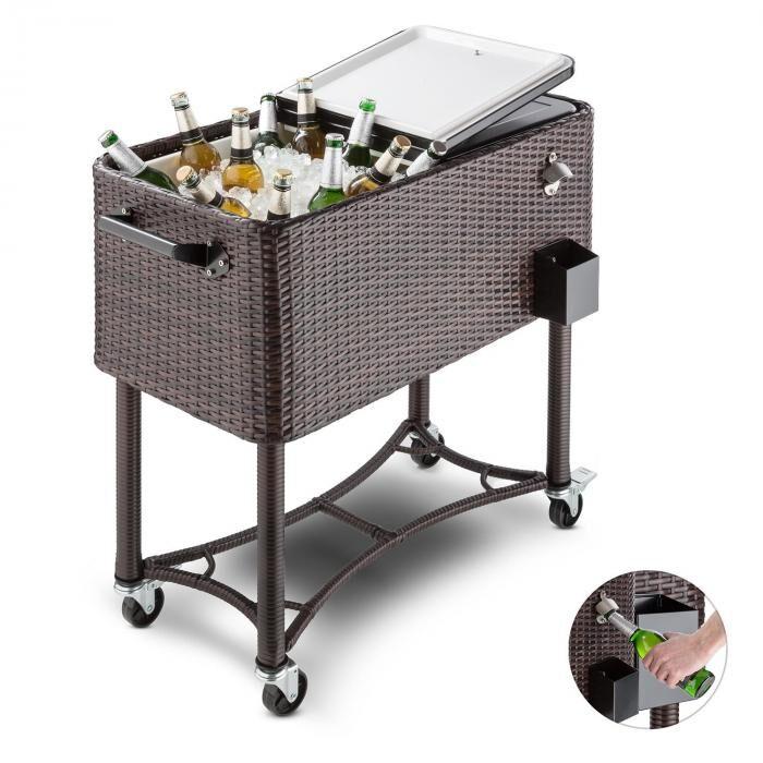 Blumfeldt SpringbreakChariot bar glacière frigorifique de terrasse 80L - rotin