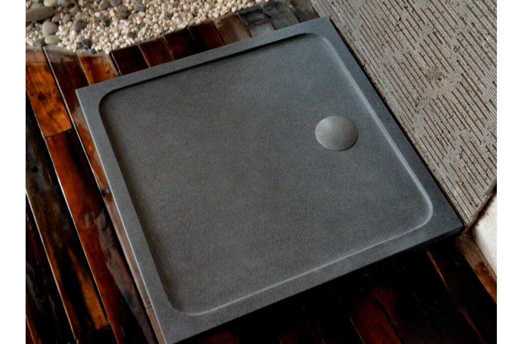 Living ROC Receveur de douche Bac en granit 100x100 pierre extra plat - SQUARIUM