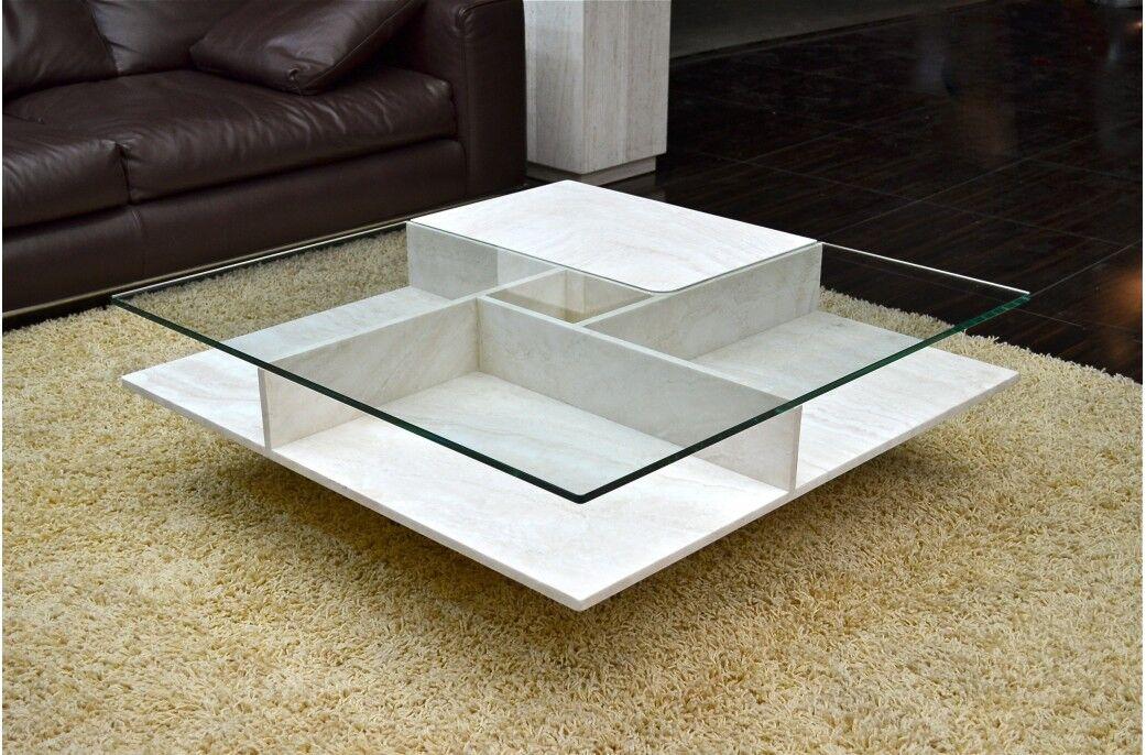 Living ROC Table basse pierre et verre haut de gamme (marbre Persan) - LANCASTER