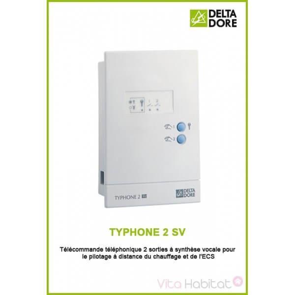 DELTA DORE TYPHONE 2 SV - Télécommande téléphonique 2 sorties à synthèse vocale - DeltaDore 6201022