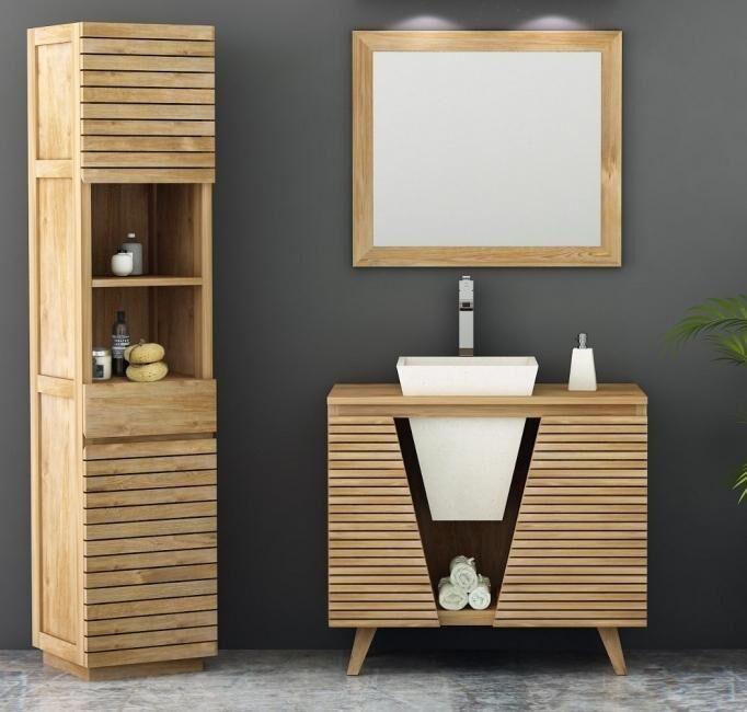 Walk Meuble salle de bain en teck - océane l90 cm 2 portes 1 vasque