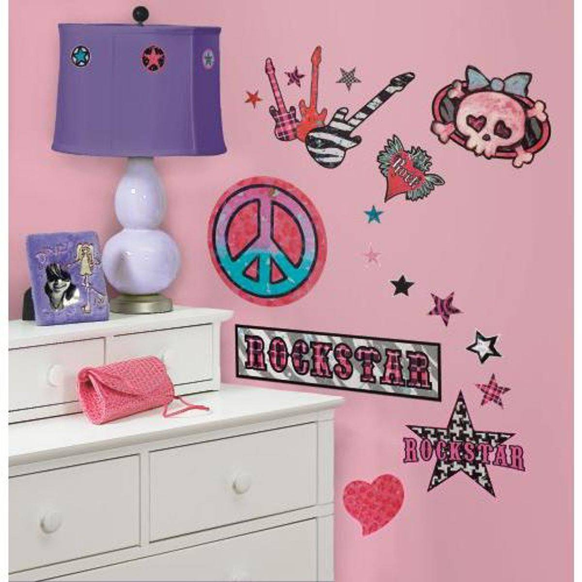 TheDecoFactory GIRLS ROCK N ROLL - Stickers repositionnables style Rock'n'Roll Girly Multicolore