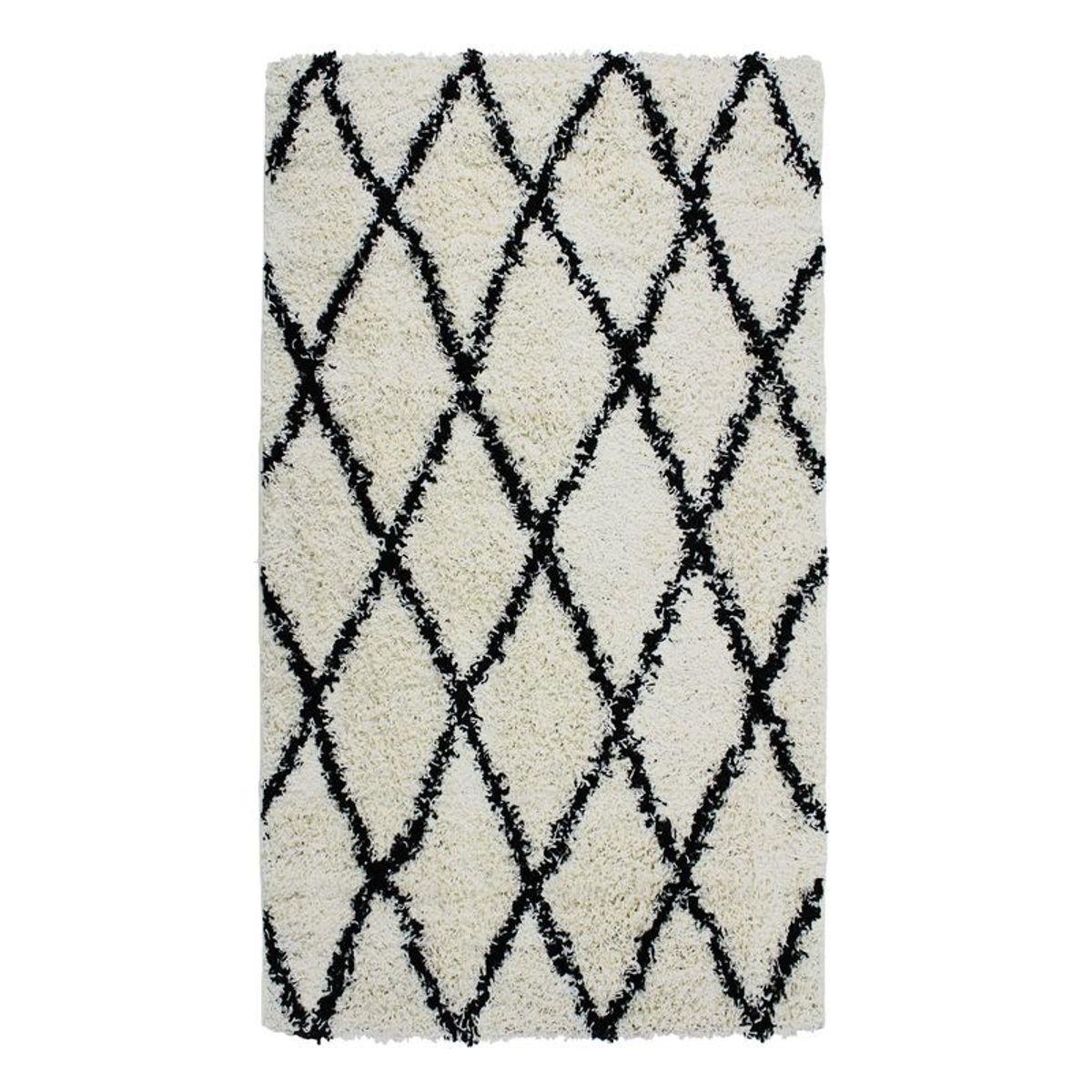 TheDecoFactory ETHNIC BERBERE - Tapis toucher laineux ethnique écru et noir 80x140 Blanc