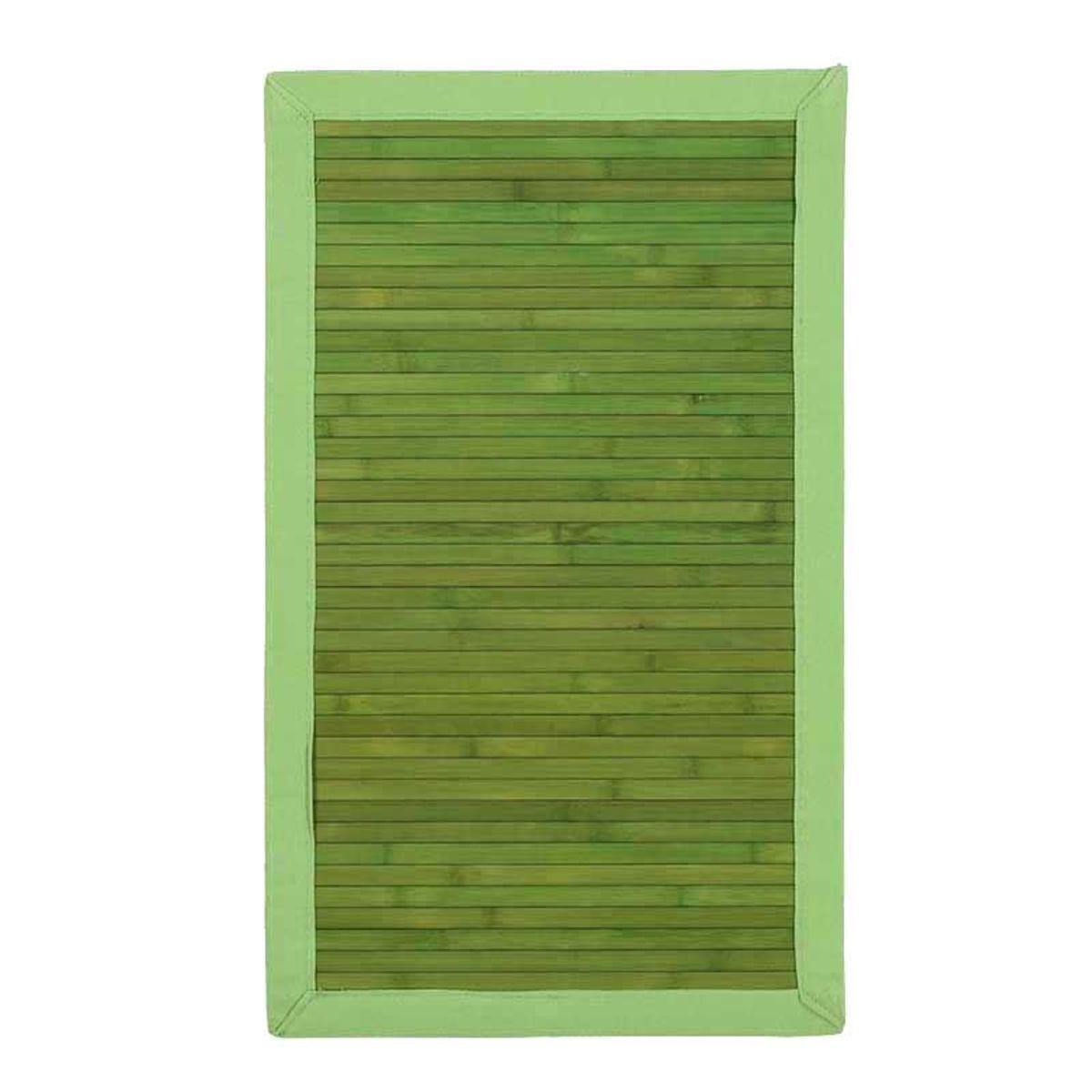 TheDecoFactory SOLO BAMBOO - Tapis en bambou larges lattes et ganse vert 45x75 Vert