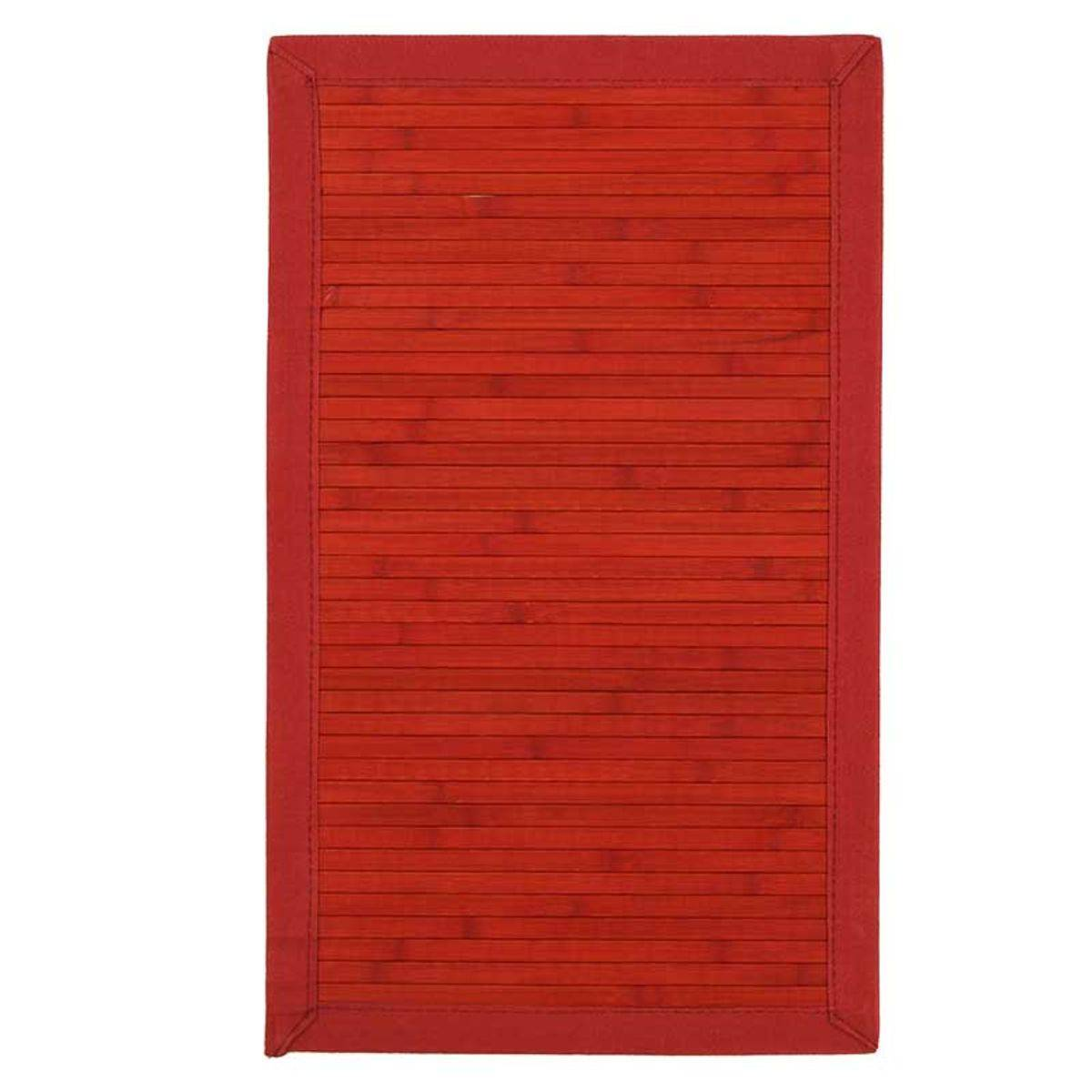 TheDecoFactory SOLO BAMBOO - Tapis en bambou larges lattes et ganse rouge 45x75 Rouge