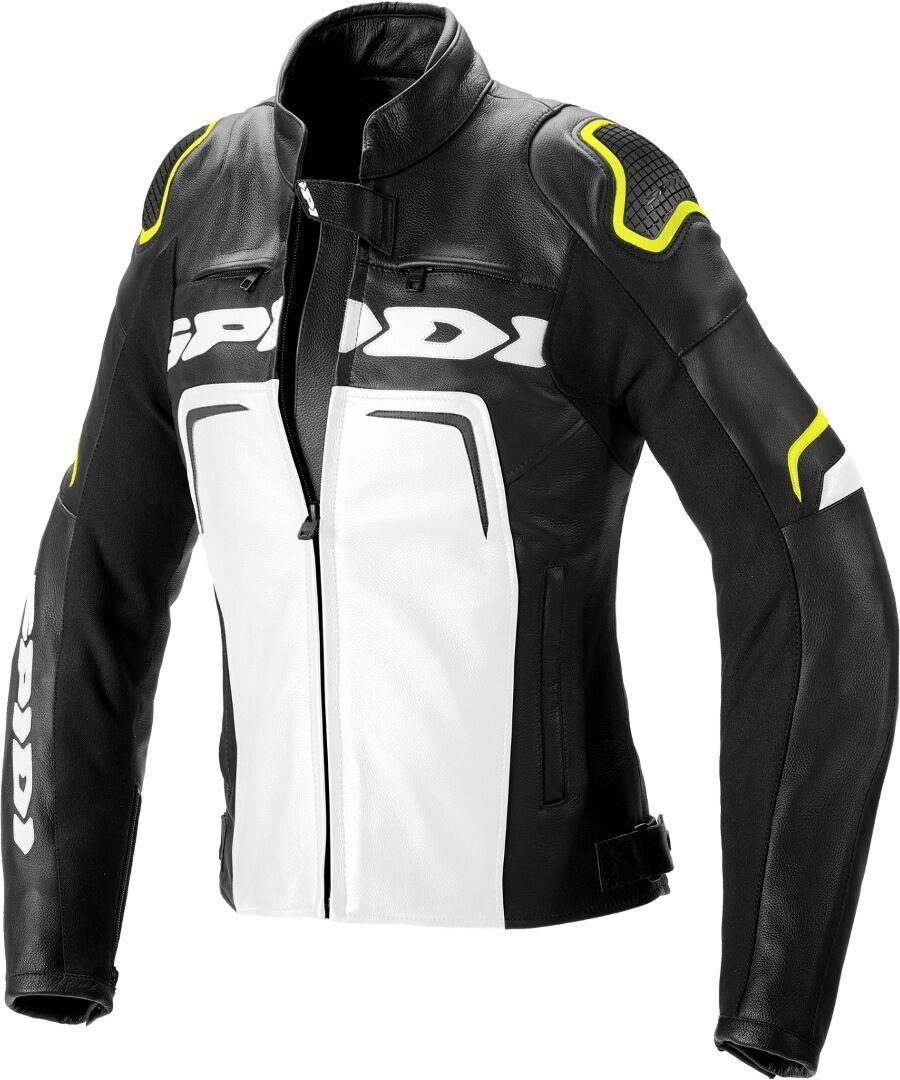 Spidi Evorider 2 Veste en cuir de moto de femmes Noir Blanc Jaune taille : 46