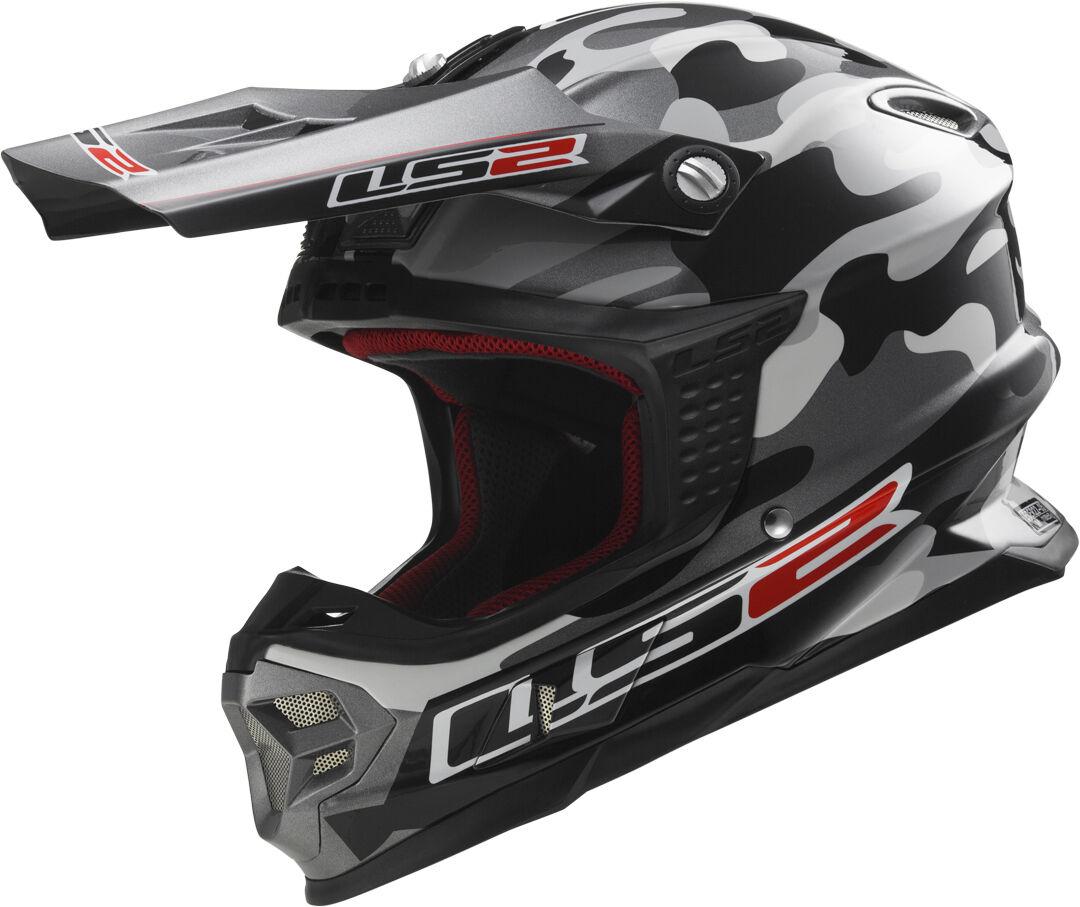 LS2 MX456 Light Dakar Casque de motocross Noir Gris taille : S