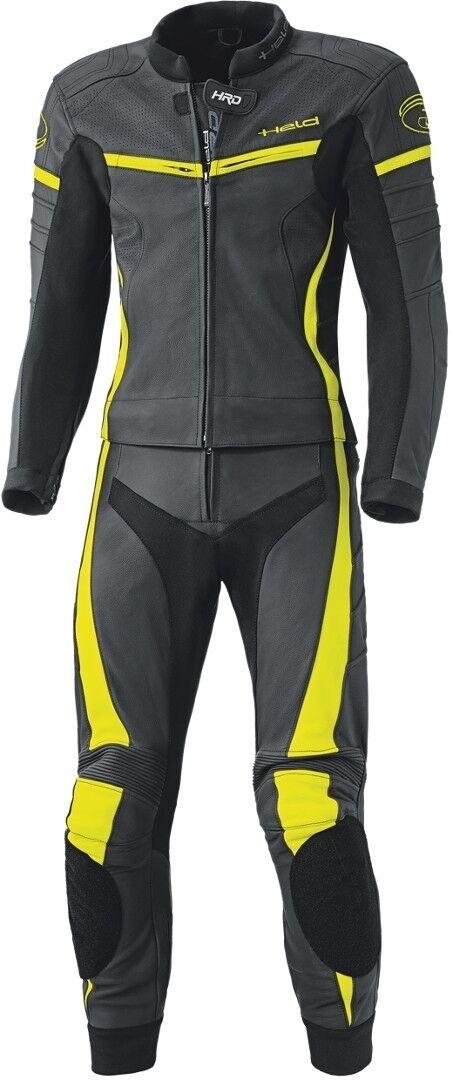 Held Spire Deux pièces combinaison de moto cuir de femmes Noir Jaune taille : 34