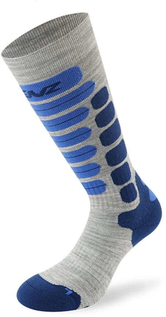 Lenz Skiing 2.0 Kids Socks Chaussettes pour enfants Gris Bleu taille : 35 36 37 38
