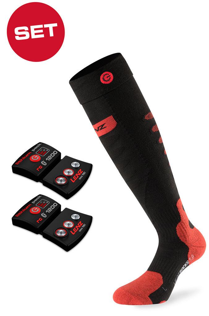 Lenz Set Lithium Pack rcB 1200 + Chaussette thermique 5.0 Chapeau d'en-but Noir taille : 39 40 41
