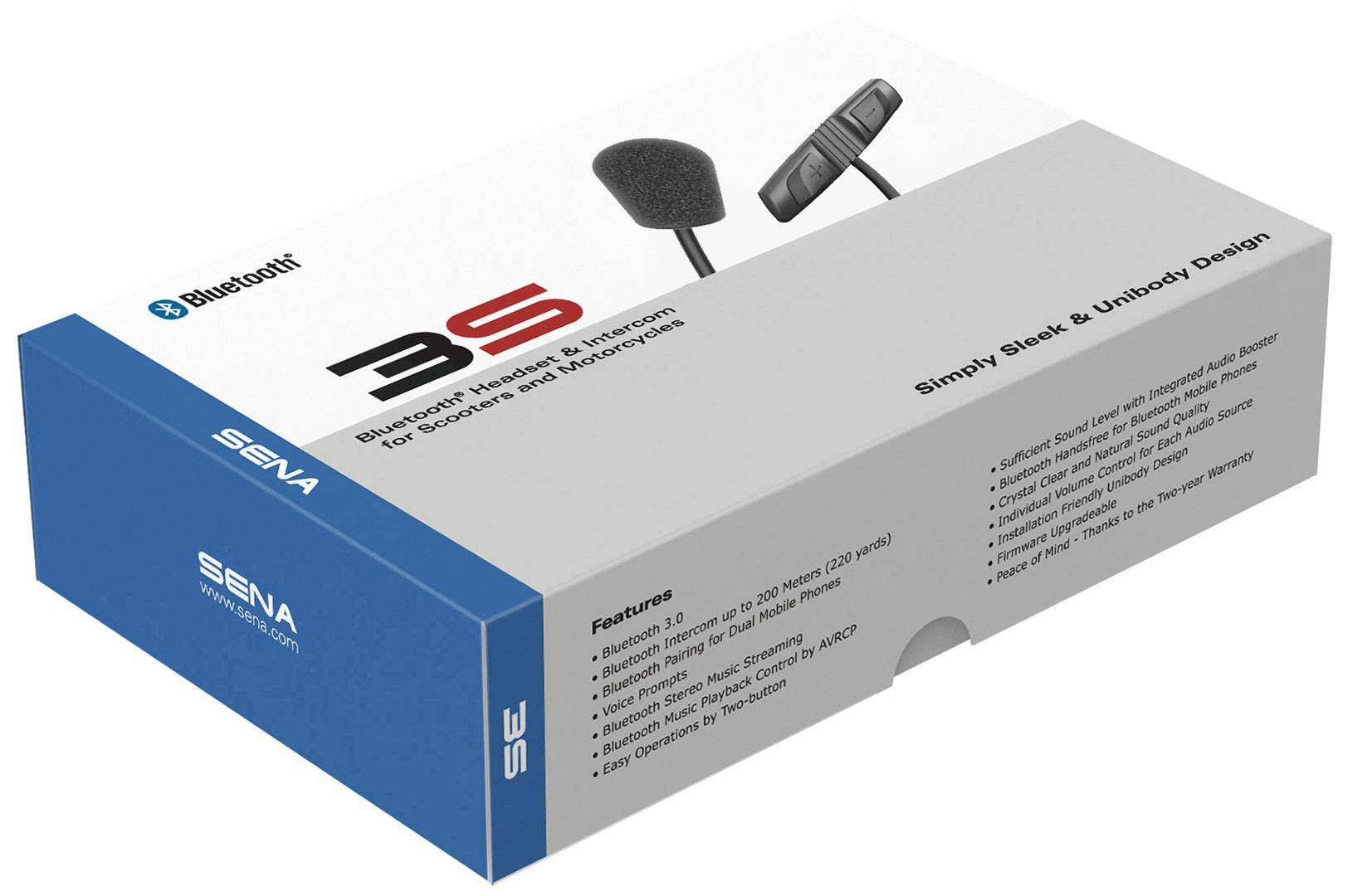 Sena 3S-WB Bluetooth Communication System Headset Casque de système de Communication Bluetooth Noir taille : unique taille