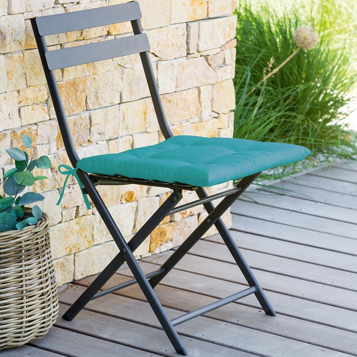 Hespéride Galette de chaise carrée 4 points Lagon Jardin