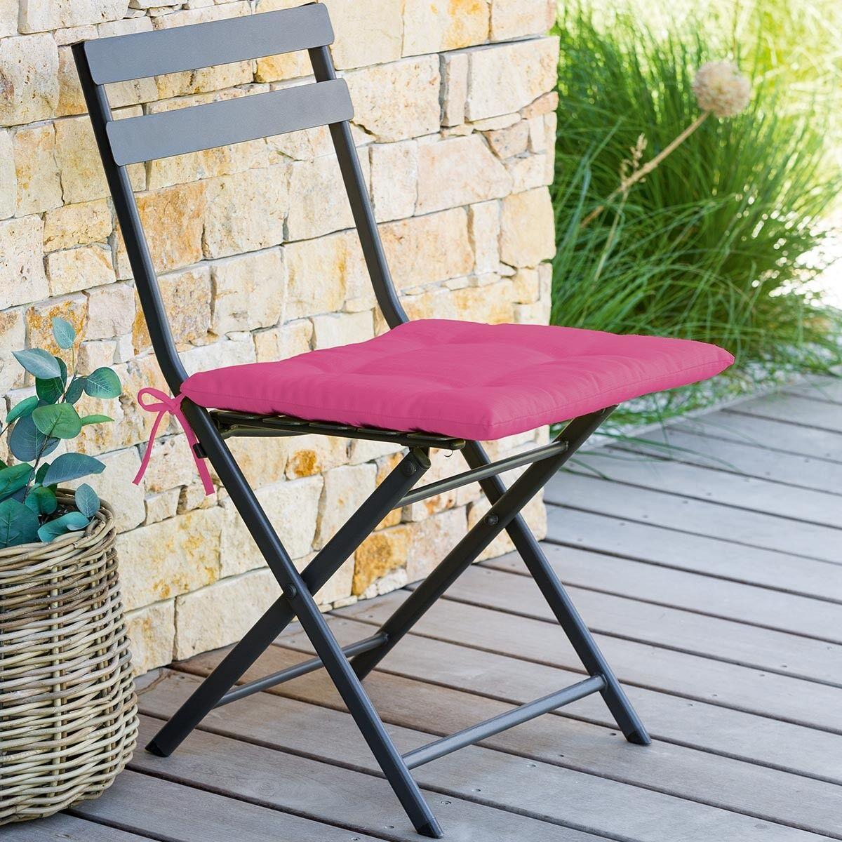 Hespéride Galette de chaise carrée 4 points Framboise Jardin