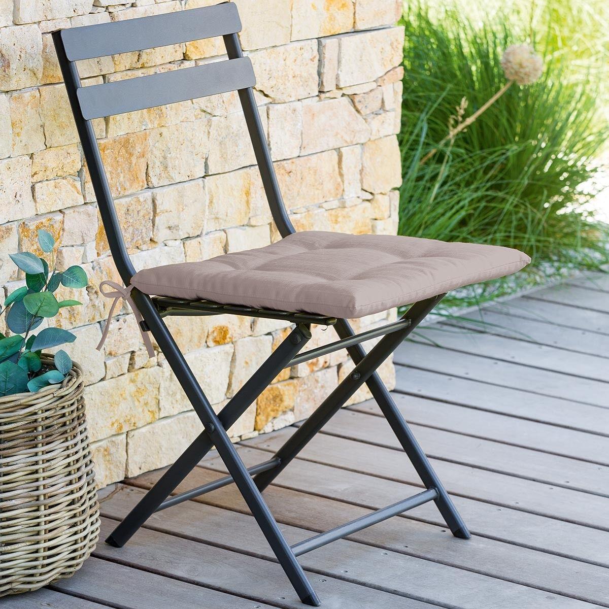 Hespéride Galette de chaise carrée 4 points Taupe Jardin
