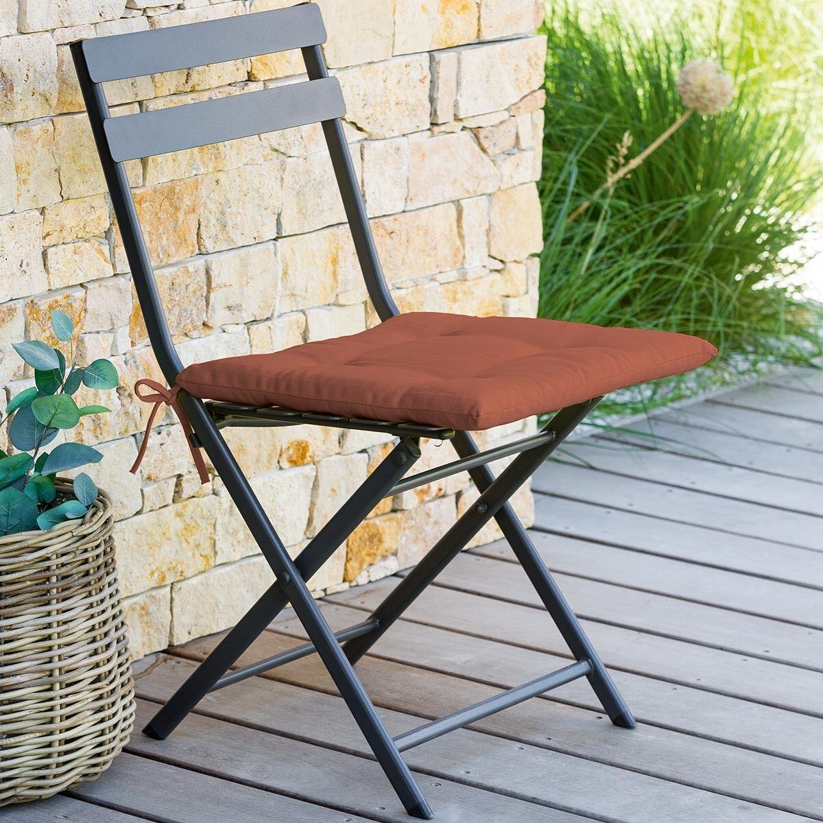 Hespéride Galette de chaise carrée 4 points Terracotta Jardin