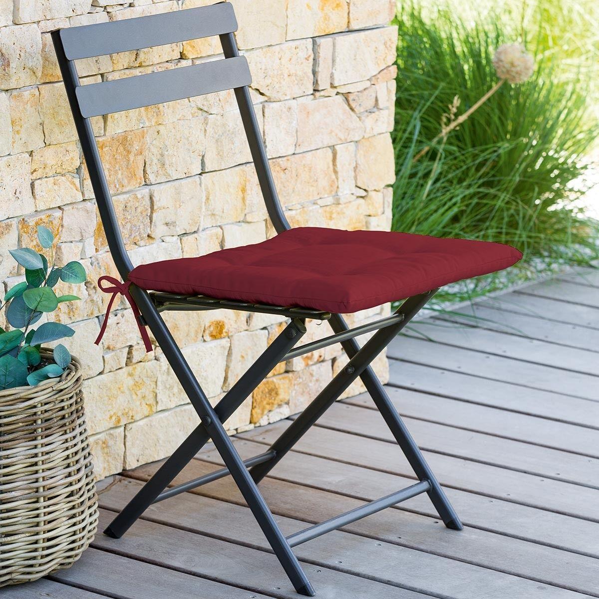 Hespéride Galette de chaise carrée 4 points Bordeaux Jardin