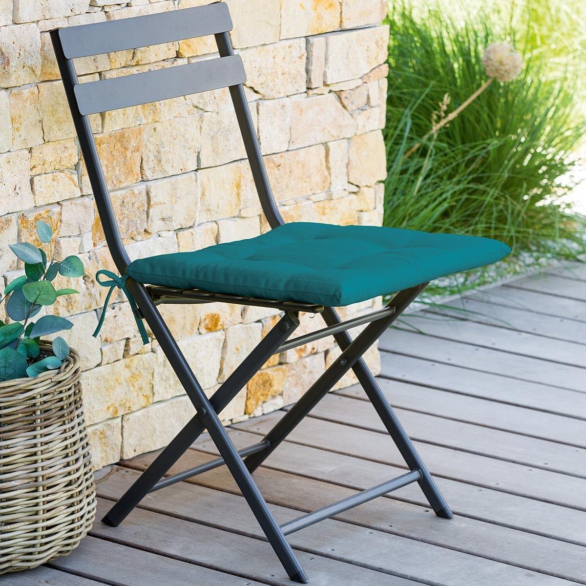 Hespéride Galette de chaise carrée 4 points Bleu canard Jardin