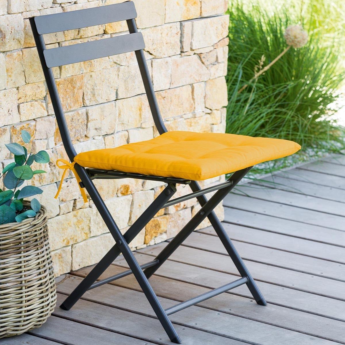 Hespéride Galette de chaise carrée 4 points Jaune moutarde Jardin
