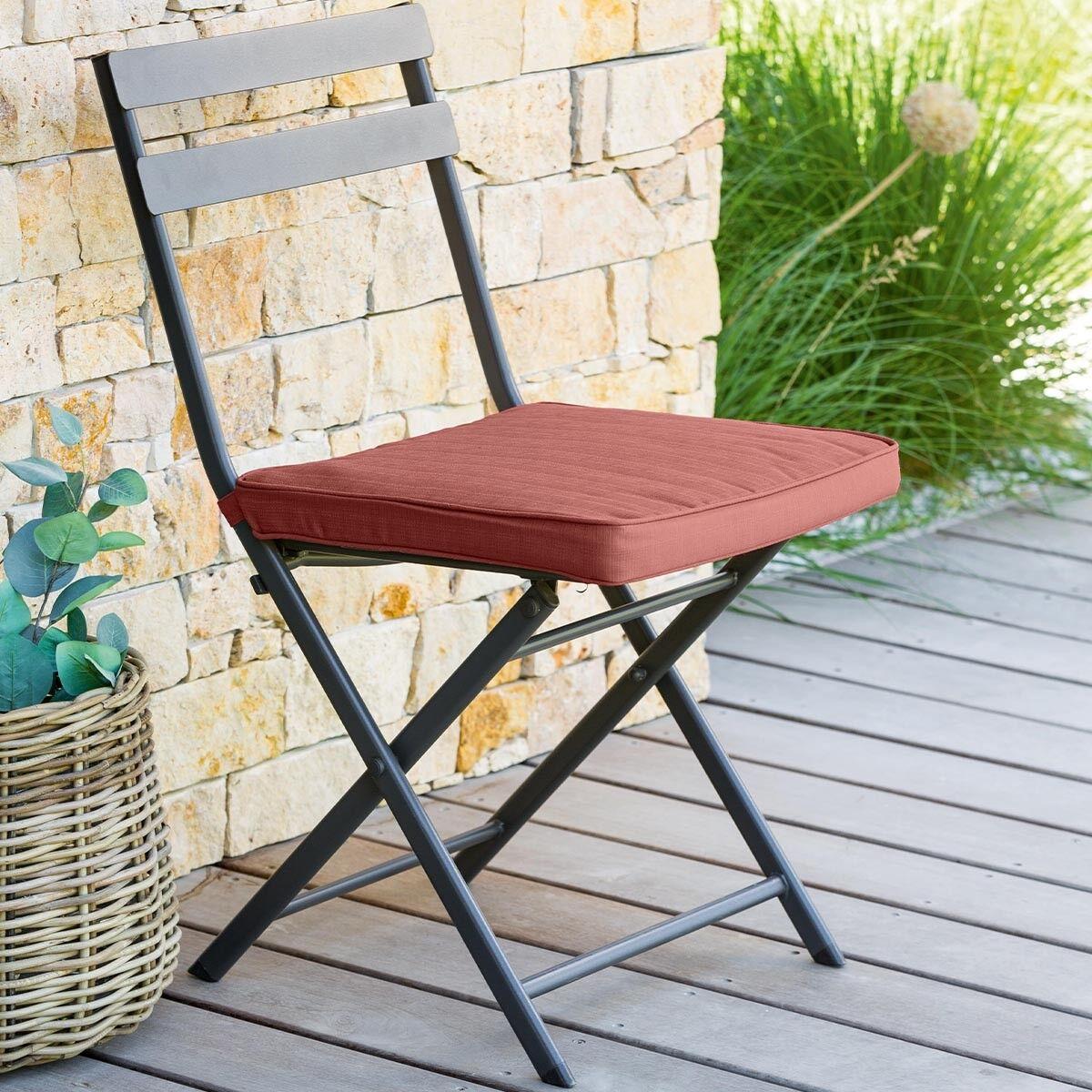 Hespéride Galette de chaise carrée Terracotta Jardin