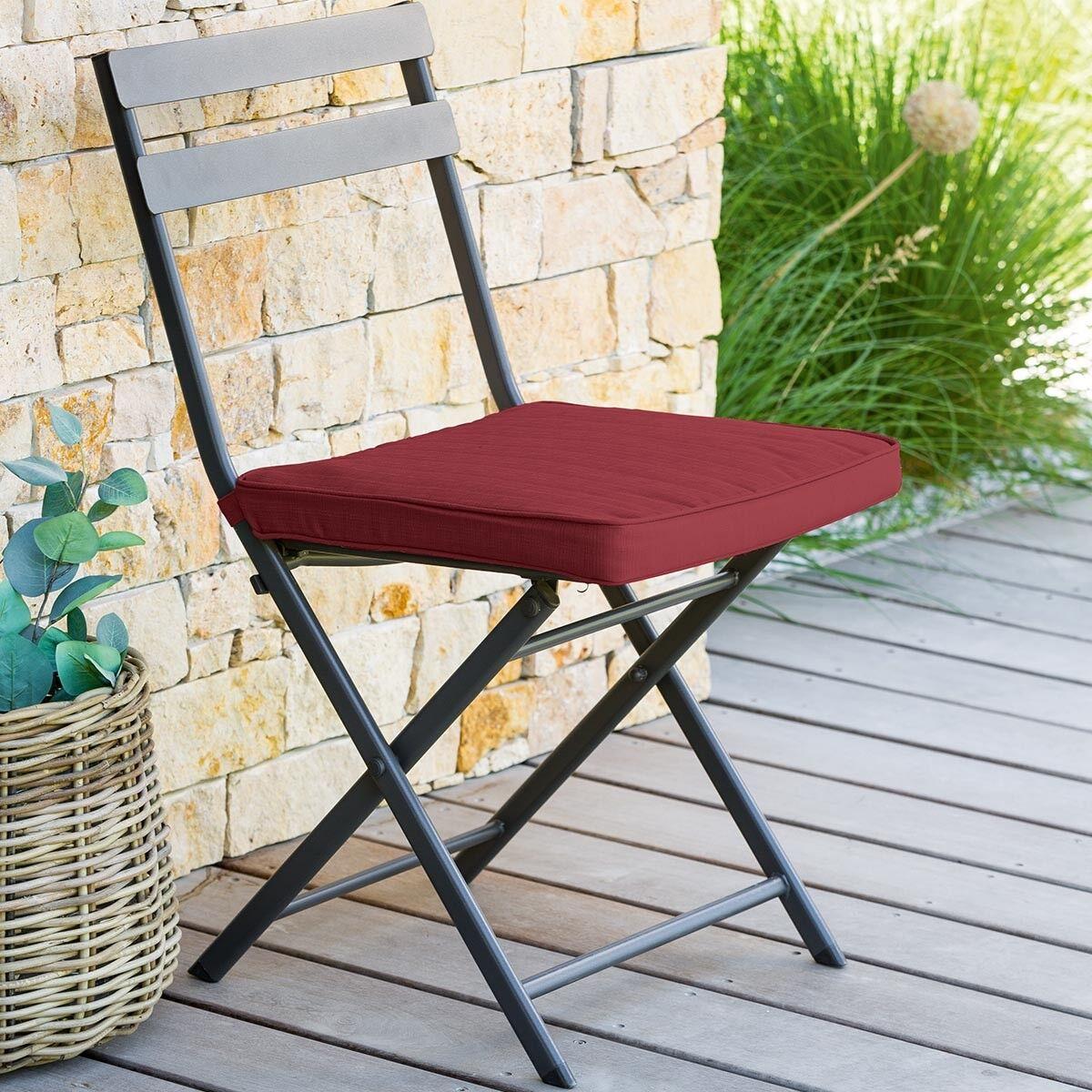 Hespéride Galette de chaise carrée Bordeaux Jardin