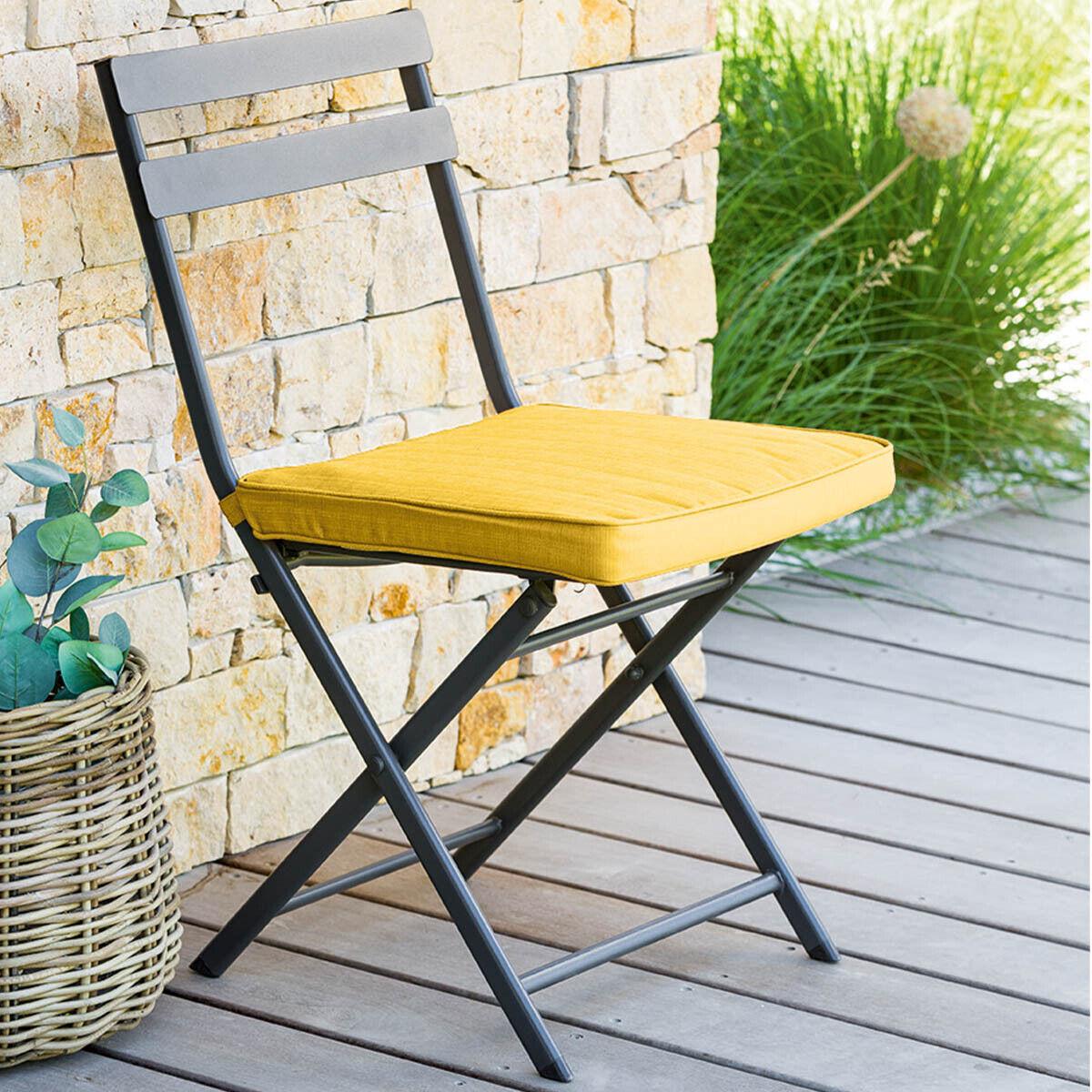 Hespéride Galette de chaise carrée Jaune moutarde Jardin
