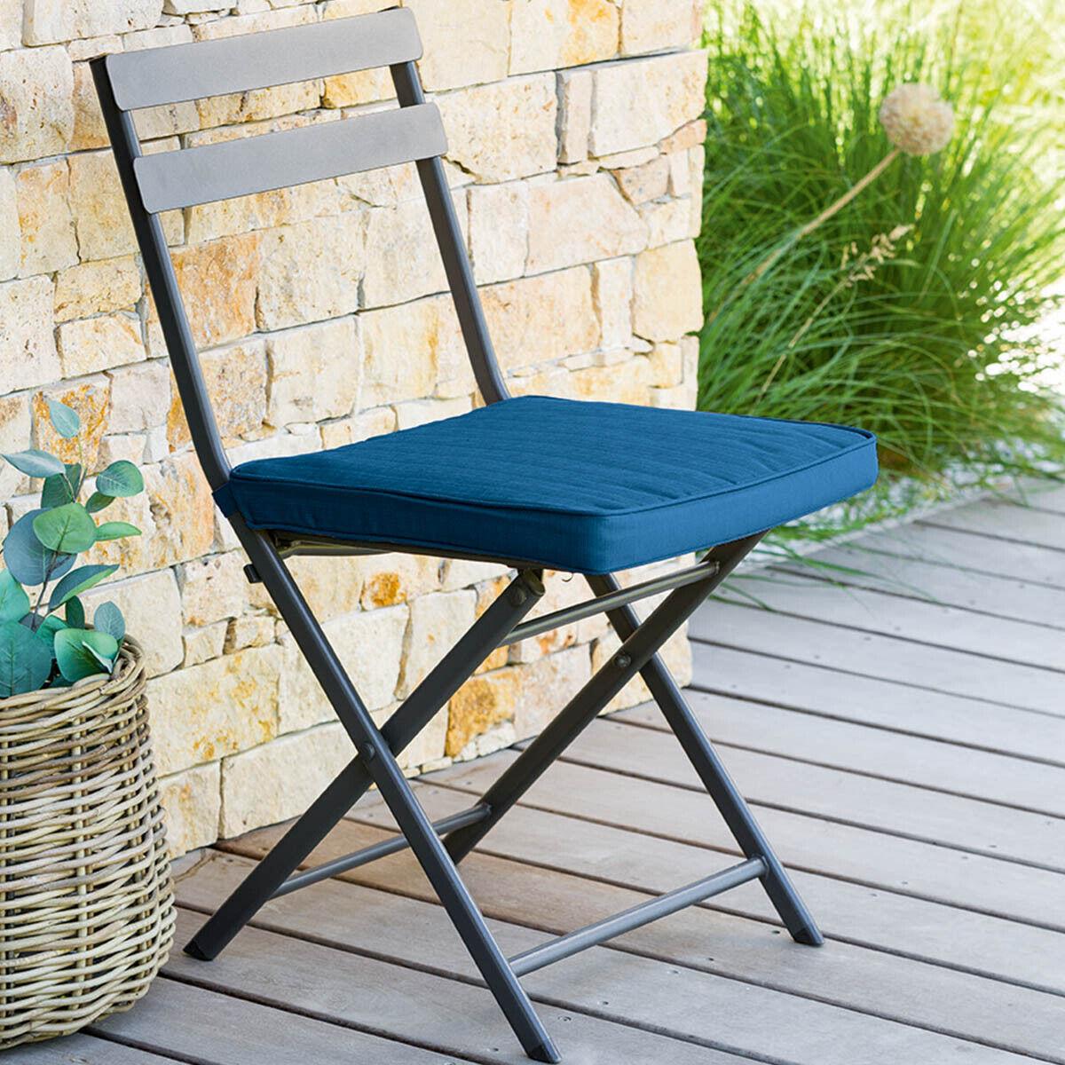 Hespéride Galette de chaise 4 points Korai Bleu indigo Jardin