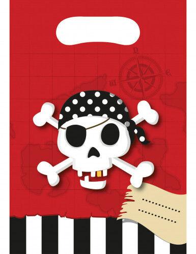 6 Sacs cadeaux Carte au trésor Pirate 16.5 x 23 cm Taille Unique