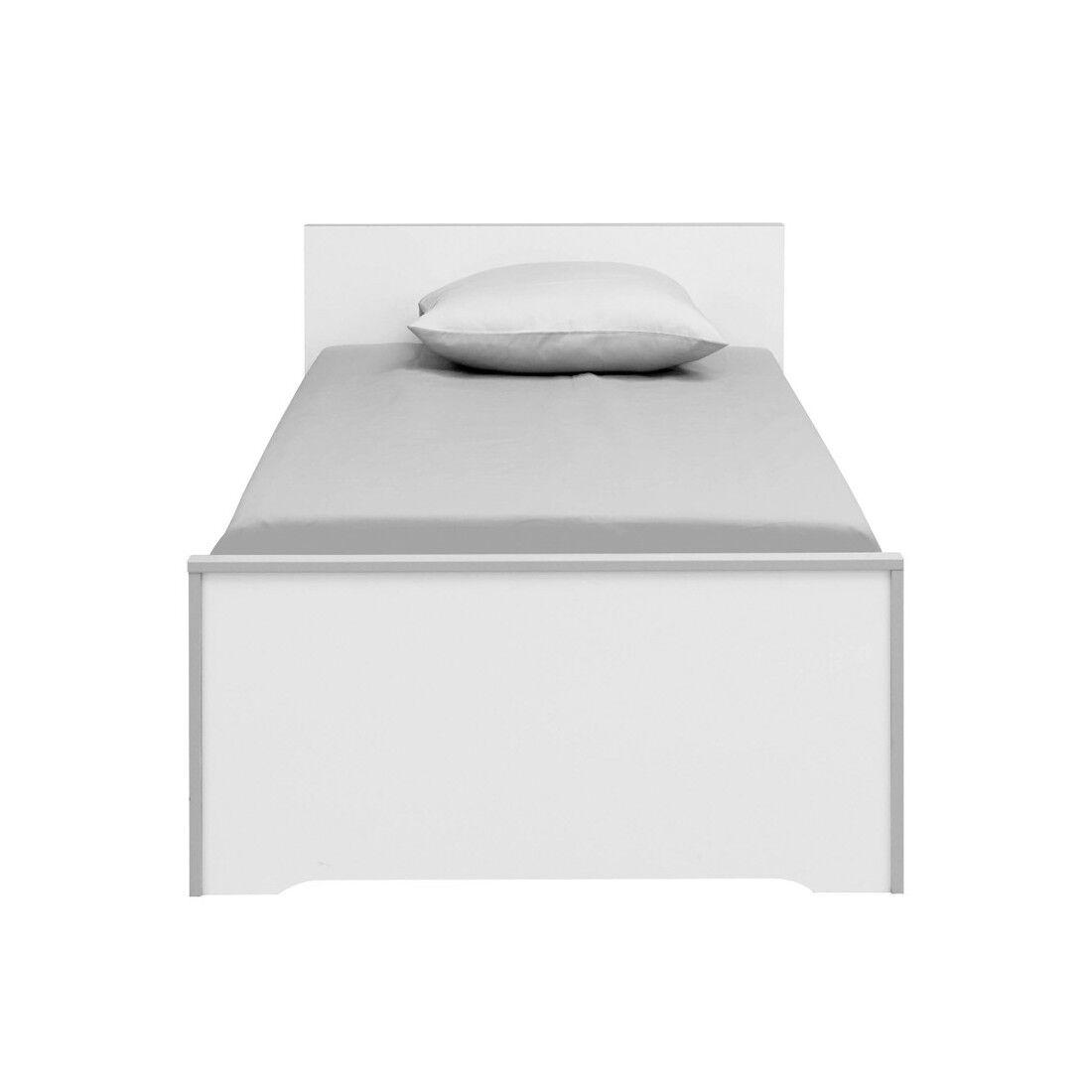 Tousmesmeubles Lit Blanc/Gris 90*200 cm - JEWEL - L 208 x l 98 x H 75