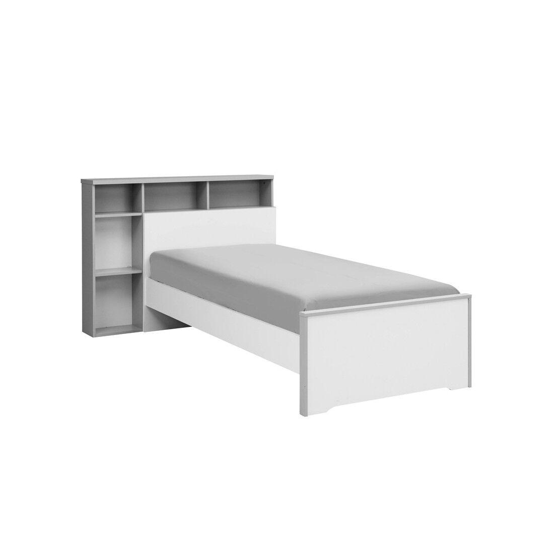 Tousmesmeubles Lit Blanc/Gris 90*190 cm + sa tête de lit + tiroir - JEWEL - L 208 x l 98 x H 75