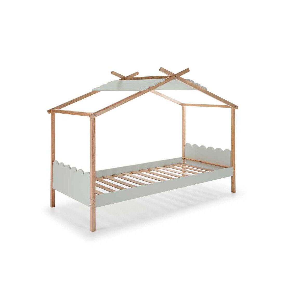 Tousmesmeubles Lit cabane 90*190 cm Gris/Bois - ROBIN - L 217 x l 110 x H 171