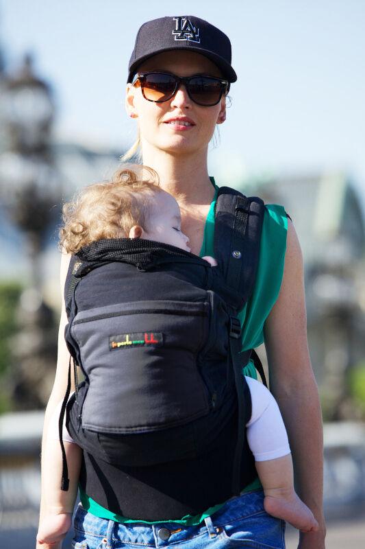 je porte mon bébé Porte-bébé Physiocarrier tablier noir poche anthracite - JPMBB