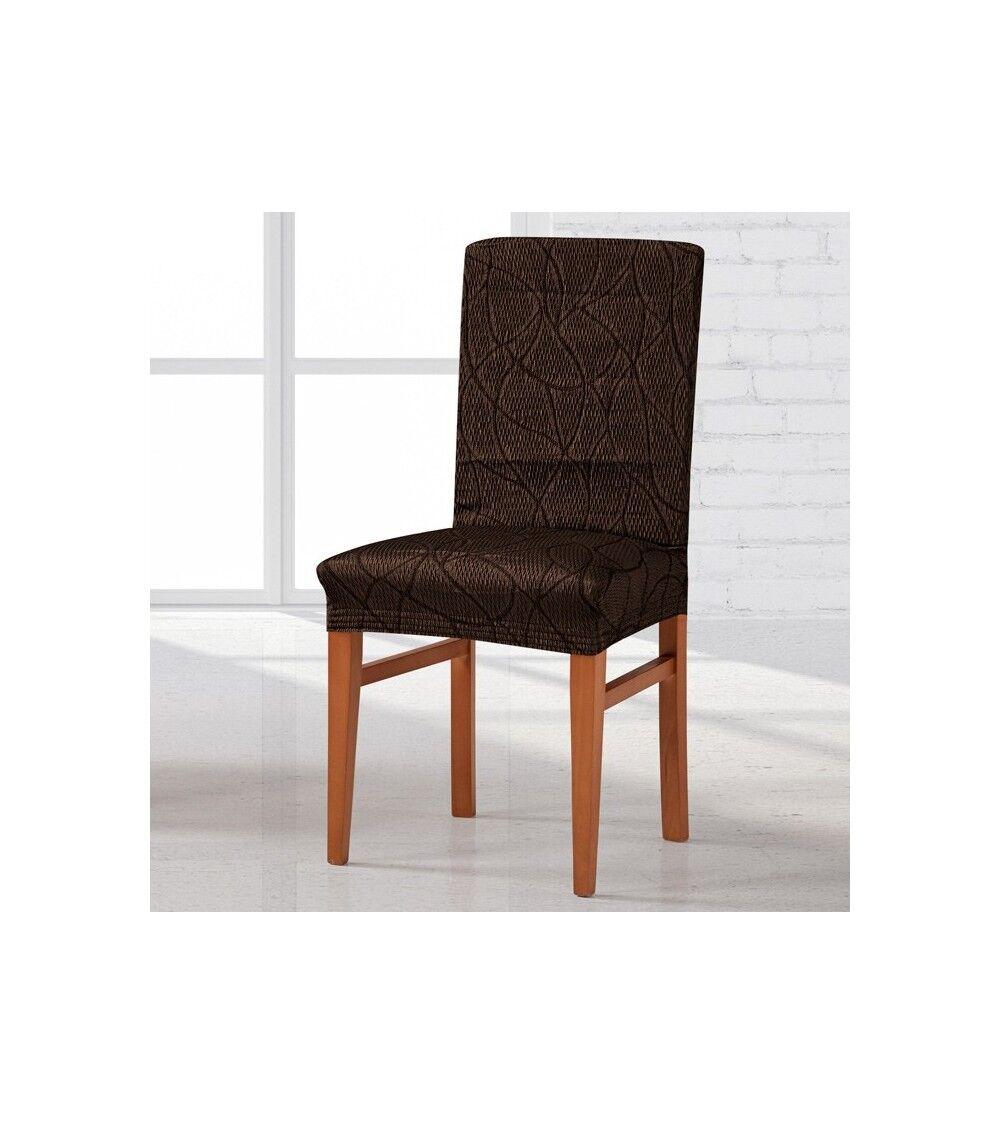 Housse  de chaise extensible Alexia Taille - lot de 2, Couleur - marron