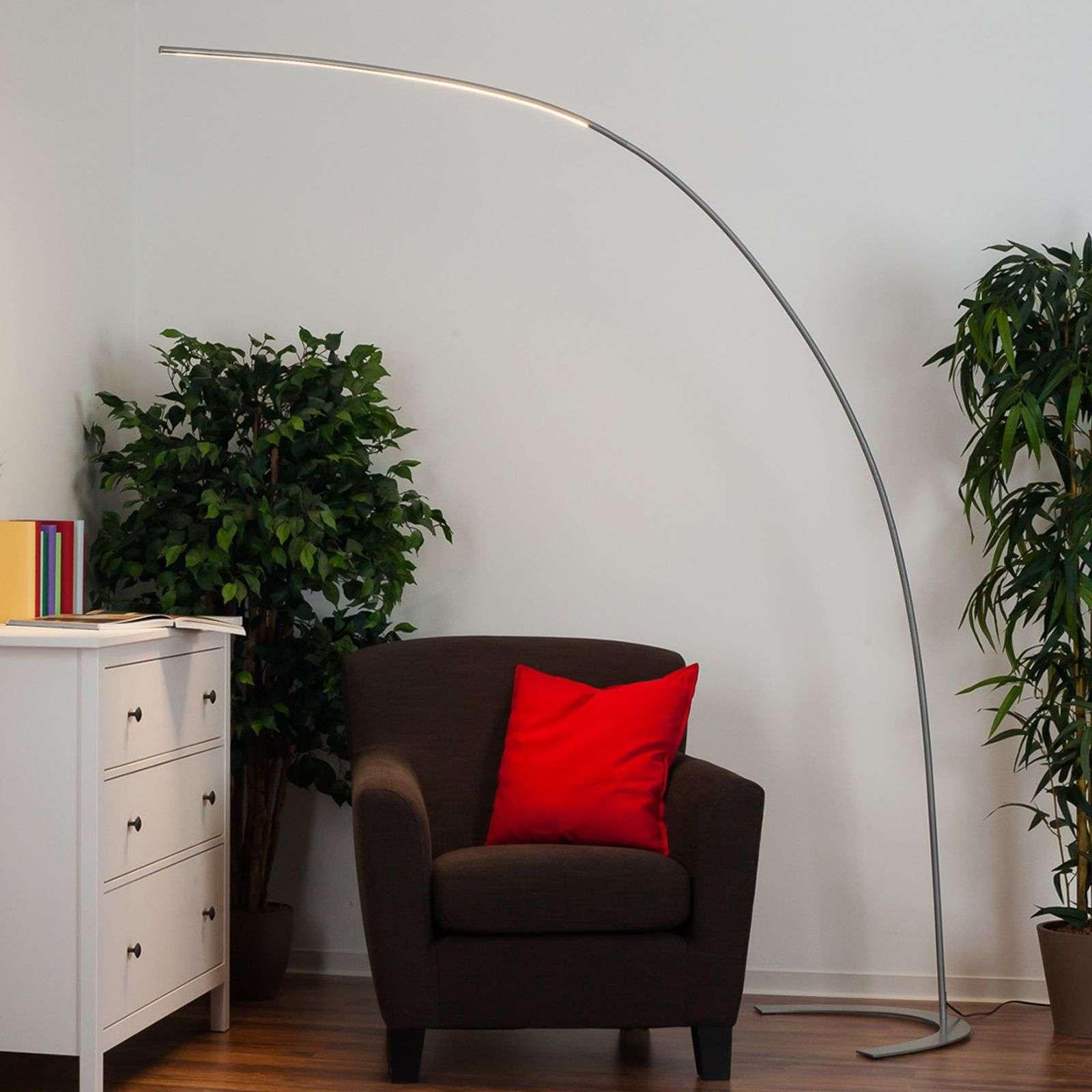 Lampenwelt.com Lampadaire LED Danua, argenté - LAMPENWELT.com
