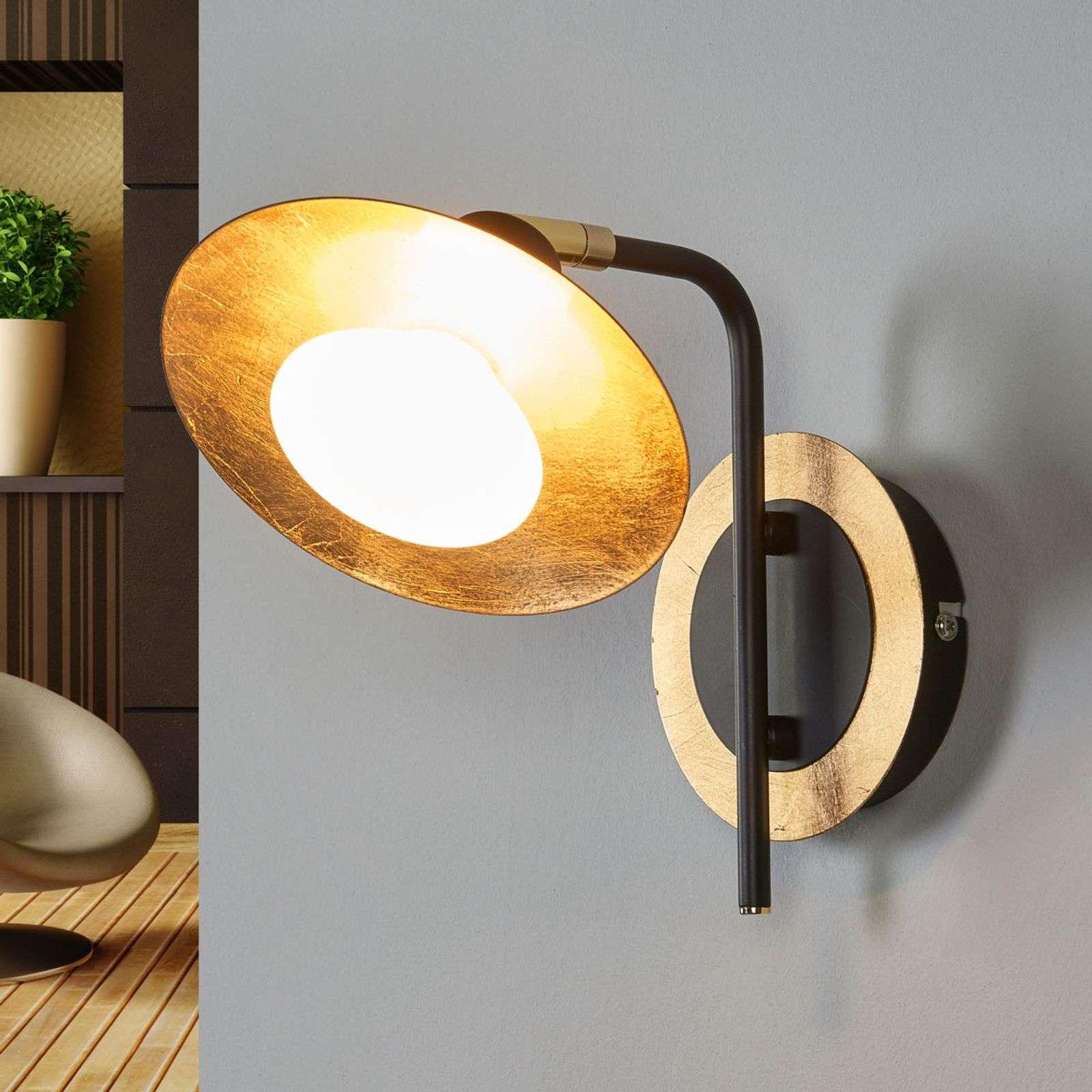 Lampenwelt.com Applique LED noire-dorée Andrej - LAMPENWELT.com