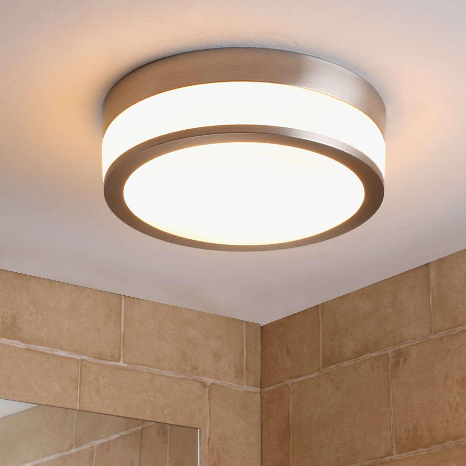 Lampenwelt.com Plafonnier de salle de bain LED Flavi, nickel mat - LAMPENWELT.com