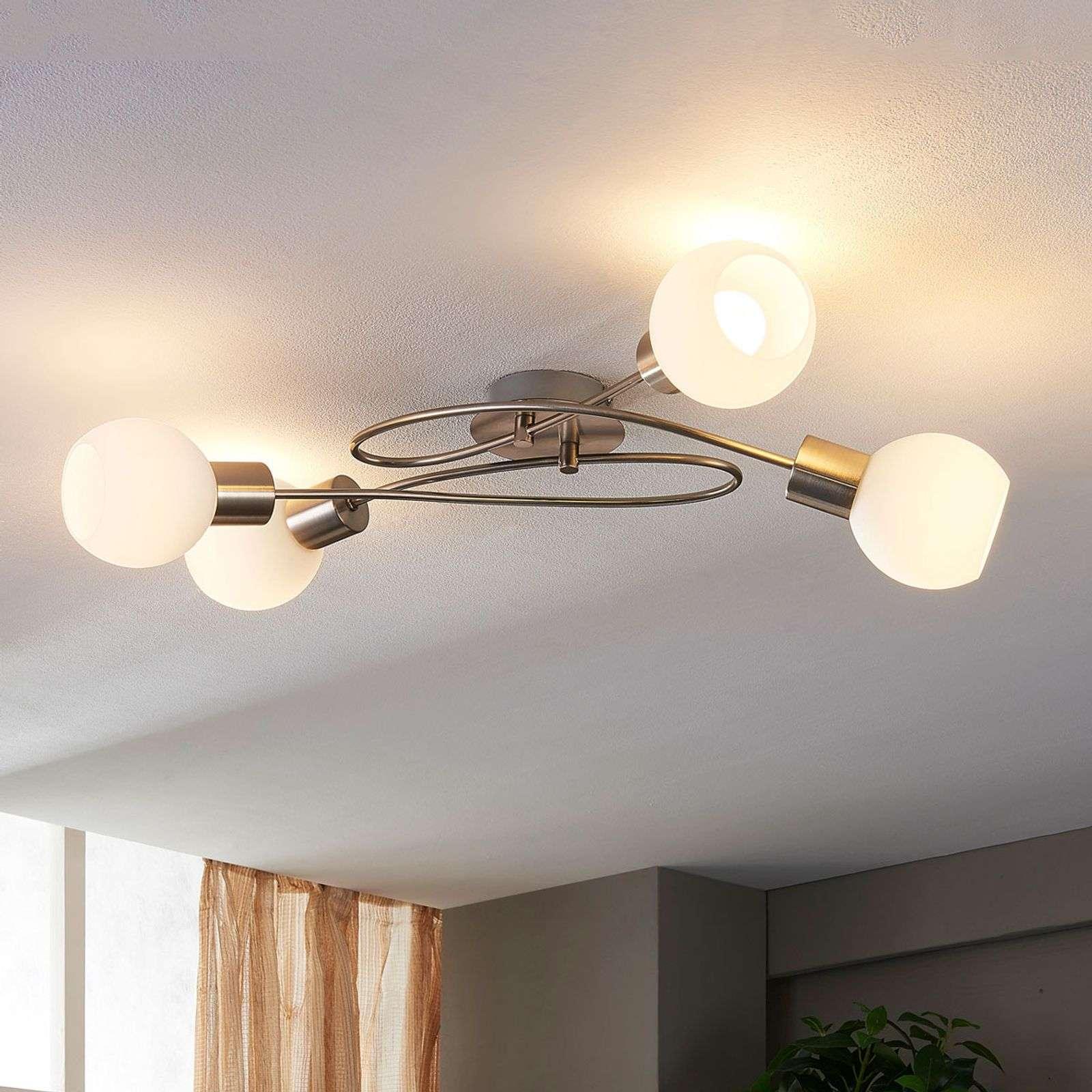 Lampenwelt.com Plafonnier LED Hailey à 4 lampes, nickel - LAMPENWELT.com