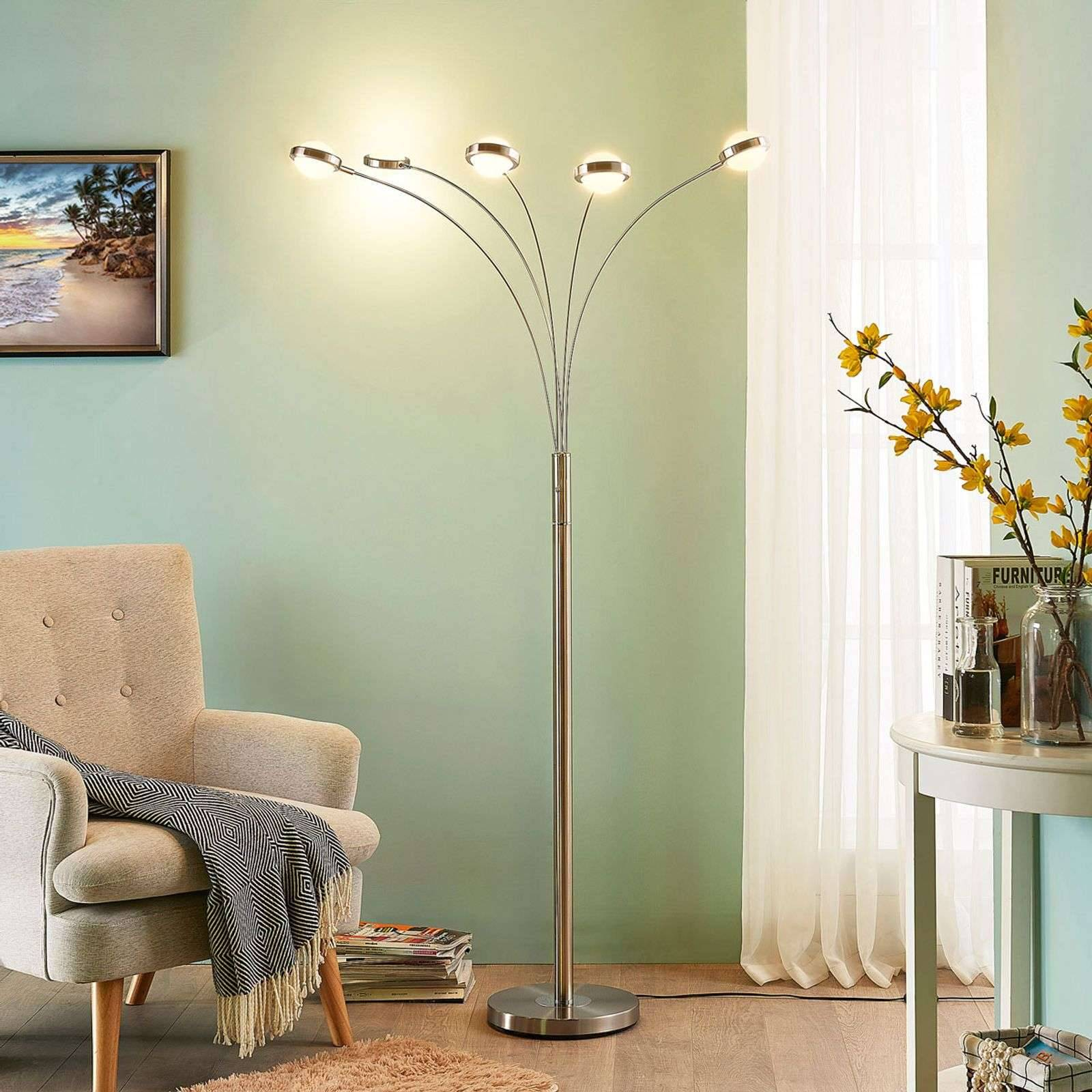 Lampenwelt.com Lampadaire LED à 5 lampes Catriona avec variateur - LAMPENWELT.com
