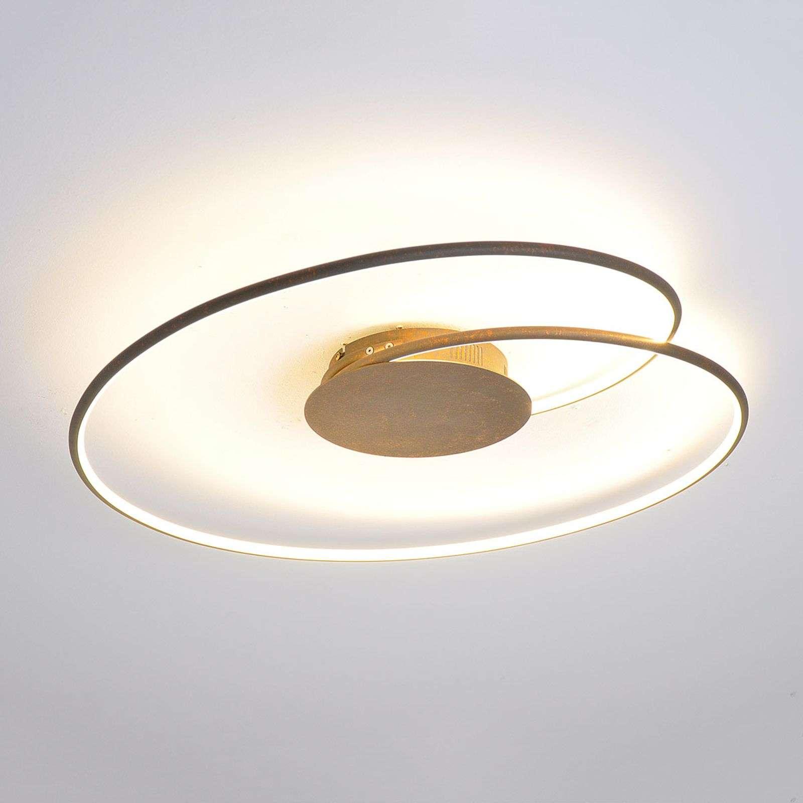 Lampenwelt.com Ravissant plafonnier LED Joline en brun rouille - LAMPENWELT.com