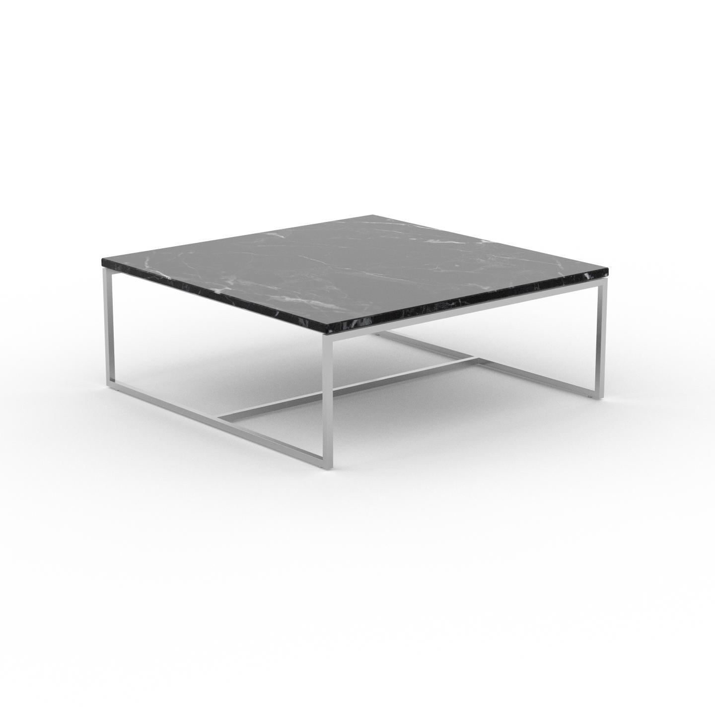 MYCS Table basse en marbre Noir Marquina, design contemporain, bout de canapé luxueux et sophistiqué - 81 x 31 x 81 cm, personnalisable