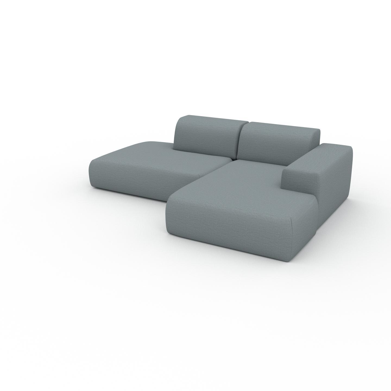 MYCS Canapé d'angle - Bleu Pigeon, design arrondi, canapé en L ou angle, confortable avec méridienne ou coin - 245 x 72 x 168 cm, modulable